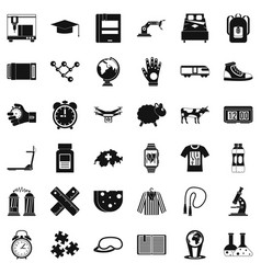 swiss things icons set simple style vector image vector image