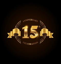 15 years anniversary celebration logotype golden vector image