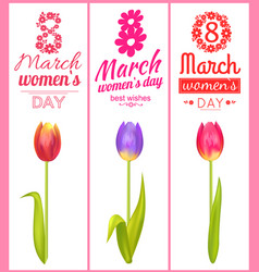 8 march best wishes poster vector