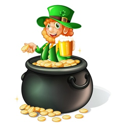 A pot with coins and an old man with a mug of beer vector image