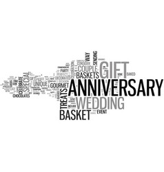 anniversary gift basket text word cloud concept vector