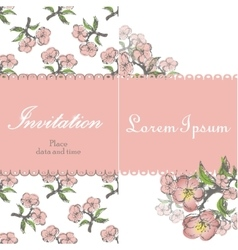 Beautiful floral invitation card with apple twig vector image