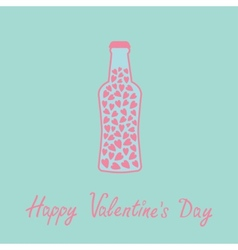 Beer bottle with hearts inside Blue and pink Love vector image vector image