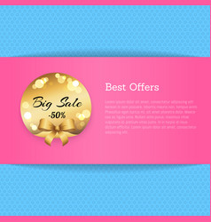 best offers banner with golden label big sale -50 vector image
