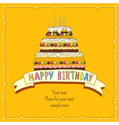 birthday cake card yellow vector image