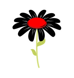 black flower isolated floret of sorrow and grief vector image