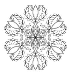 black snow flake in zentangle doodle style mandala vector image vector image