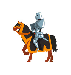 Brave knight in steel armor with sword and shield vector