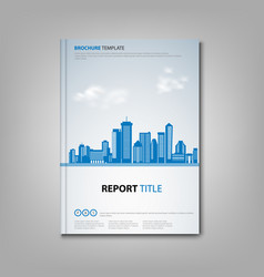 brochures book or flyer with city in blue design vector image
