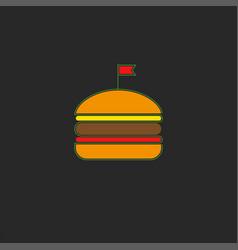 burger logo fastfood symbol in minimal style vector image