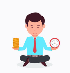 business man sitting in lotus position vector image