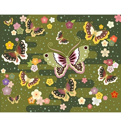 Butterflies in the Japanese style vector image
