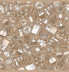 cartoon cute hand drawn science seamless pattern vector image