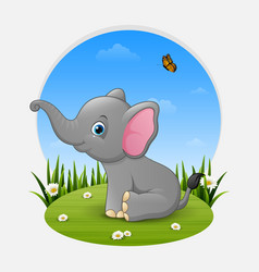 cartoon happy elephant sitting on the grass vector image