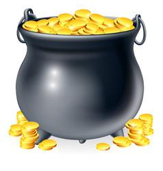 Cauldron full of gold coins vector