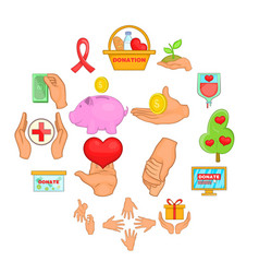 charity organization icons set cartoon style vector image