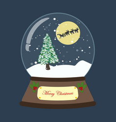 christmas snow globe with tree and deers vector image