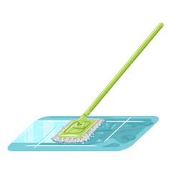 Cleaning mop wash floor vector