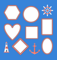 collection nautical rope frames and marine vector image