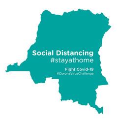 Congo democratic republic map with social vector