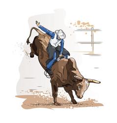 Cowboy bull riding vector
