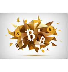 Crypto currency bitcoin faceted banner vector