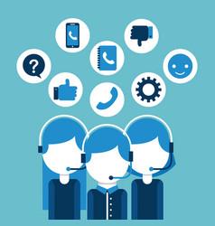 Customer service call center operator wearing vector