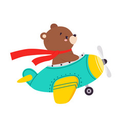 Cute bear animal with fluttering scarf flying vector