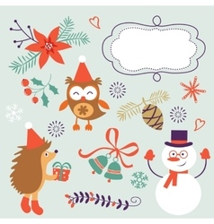 Cute Christmas decorative elements and icons vector
