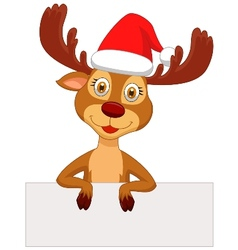 Cute deer cartoon with blank sign vector