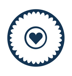 Cute flower with heart isolated icon vector