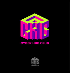 Cyber hub club logo volume 3d imitation cube vector