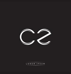 cz initial letter split lowercase logo modern vector image