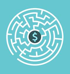 dolllar sign circular maze vector image