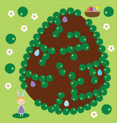 Easter activity maze game egg hunting vector