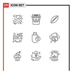 Editable line pack 9 simple outlines vector