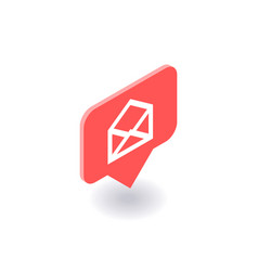 Envelope mail icon symbol in isometric 3d vector