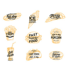 fast food restaurant icon meal and drink sketch vector image