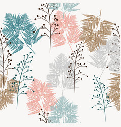 fern and wild herbs seamless pattern vector image