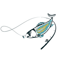 Fish and bait on a fishing rod vector