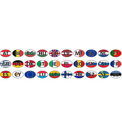 Flags of the country of the eu oval sticke vector