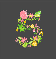floral summer number 5 five flower capital vector image
