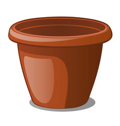flower pot brown color isolated on a white vector image
