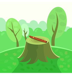 Flute in forest on stump vector image