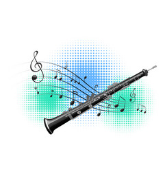 Flute with music notes in background vector