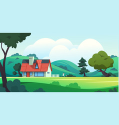 forest house countryside cartoon landscape vector image
