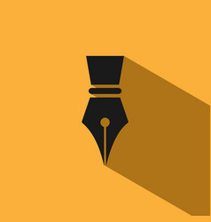 Fountain pen icon with shadow on yellow background vector