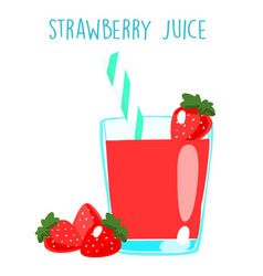fresh strawberry juice on white background xa vector image