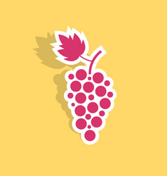 grape icon sticker with shadow vector image