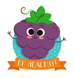 Grapes cute fruit character badge vector